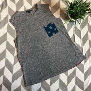 BOHO- Flag Print-Sleeveless T-Shirt Top- Size Med